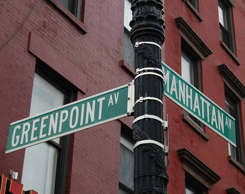 Intersection of Greenpoint Avenue and Manhattan Ave street sign in Brooklyn, NY