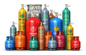 Flammable canisters of gasses such as propane, argon, oxygen, helium, nitrogen, and carbon dioxide that are not approved for self storage units
